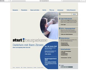 start bausparen: Screenshot von www.start-bausparkasse.at am 22.7.2015